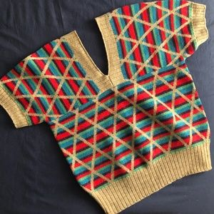 Vintage Striped Sweater - Short Sleeves